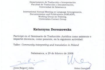 Certyfikat uczestnictwa w seminarium dla tłumaczy tekstów sądowych, Uniwersytet w Salamance, 2008
