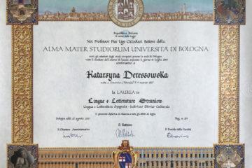Dyplom ukończenia studiów magisterskich z zakresu Języków i Literatury Obcej, Uniwersytet w Bolonii